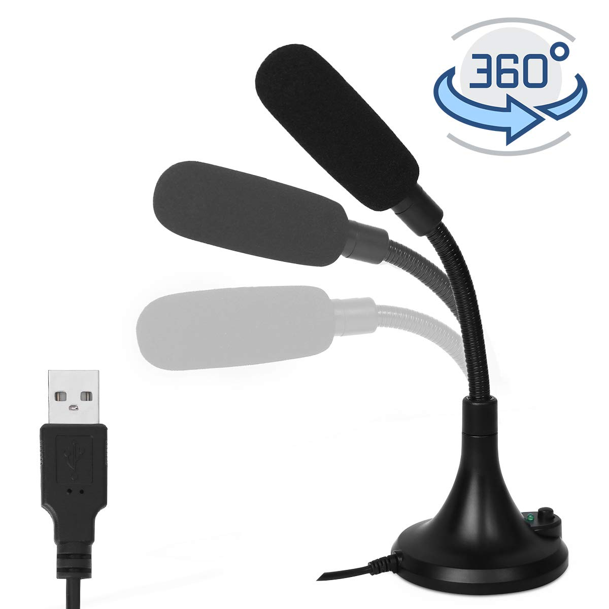 USB Microphone, PC Microphone with LED Indicator, Meeting MIC Speech Condenser Microphone for Computer/Laptop/Desktop/Windows/Mac, Record and Chat for YouTube, Sk,Podcasting,Gaming