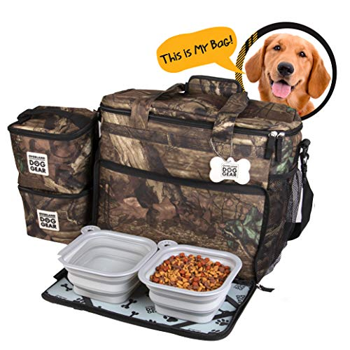 Dog Travel Bag - Week Away Tote for Med and Large Dogs - Includes Bag, 2 Lined Food Carriers, Placemat, and 2 Collapsible Bowls (Camo)