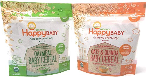 Happy Baby Clearly Crafted Cereal 2 Flavors Whole Grain Oats and Quinoa & Oatmeal With Iron to Support Baby's Brain Development Packed in Resealable Pouch