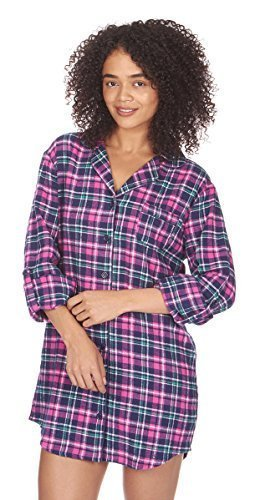 Cotton Thermal Sleepshirt (Ladies Forever Dreaming Thermal 100% Cotton Flannel Button Nightshirt (Medium, Blue Check))