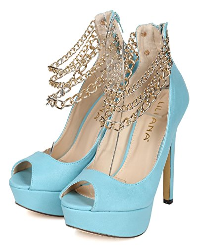 Blue Women Stiletto Chains Peep Liliana Pump Leatherette Ankle CE57 Toe 5qwH0zx