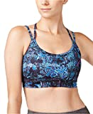 Gaiam Women's Liv Printed Strappy-Back Medium-Support Sports Bra (Pool Green, X-Large)