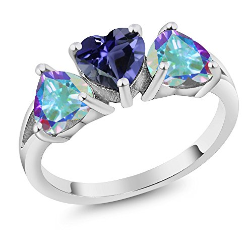 Blue Topaz Promise Rings - 2.48Ct Heart Shape Blue Iolite Mercury Mist Mystic Topaz 925 Silver 3-Stone Ring