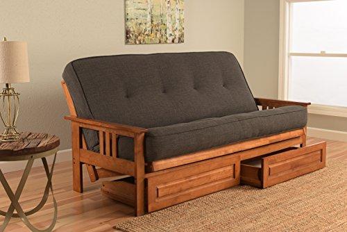 Kodiak Furniture KFMODBBLCHALF5MD4 Monterey Futon Set with Barbados Finish and Storage Drawers, Full, Linen Charcoal by Kodiak Furniture