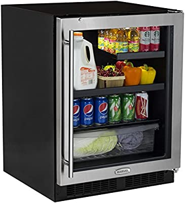 Marvel MA24BRG3RS ADA Beverage Refrigerator with MaxStore Crisper, Door with Lock, 24-Inch, Stainless Steel