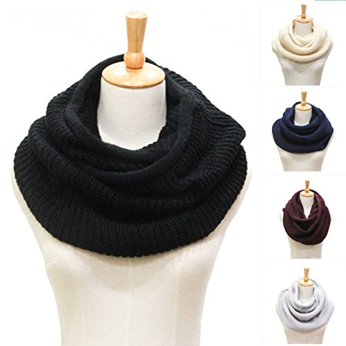 cckiise Winter Women Warm Knit Infinity Scarf Fashion Thick Soft Circle Loop Scarves (black) by cckiise