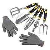 FIXKIT 6 Pieces Garden Tool Set with Garden Shovel Transplanter Cultivator Weeder Fork Rake Gloves