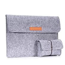 MoKo 13.5-Inch Sleeve Bag for Surface Laptop / Surface Book (2015 / 2016), Felt Protective Ultrabook Carrying Case Cover, with Small Felt Bag, Built in Flannel Interior & Two Back Pockets - Light Gray