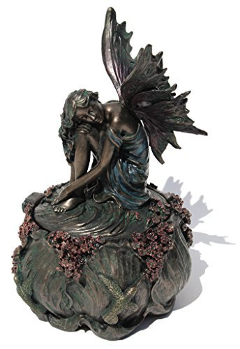 6.5 Inch Fairy and Hummingbird Decorative Trinket Box, Bronze Color