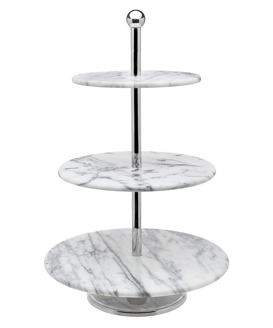 Godinger La Cucina 3 Tier Marble Server Cake Stand, 12.00L x 12.00W x 19.10H, Off-white