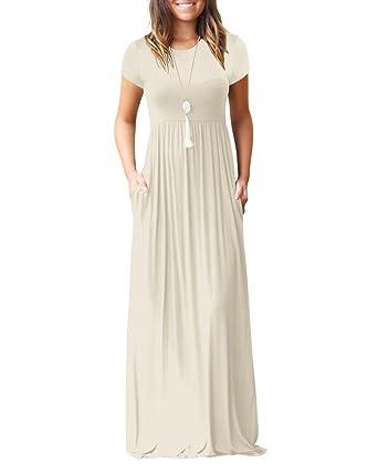27bacc63a705 ZiXing Damen Lange Kleider Kurzarm Lose Einfache Plain Maxi Kleider  Beiläufige mit Taschen  Amazon.de  Bekleidung