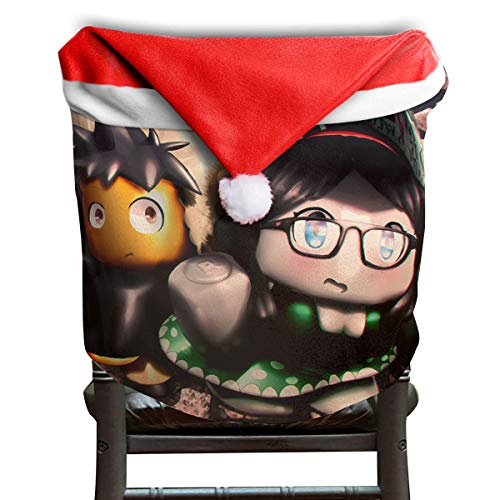 Price comparison product image MCWO GRAY Rob-lox Team Christmas Chair Back Covers Dining Room Classic Santa Claus Hat Chair Slipcovers Party Holiday Decor