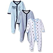 Luvable Friends Baby Cotton Snap Sleep and Play, Airplanes 3 Pack, 0-3 Months (3M)