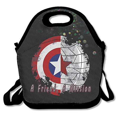 Bakeiy A Friend, A Mission Lunch Tote Bag Lunch Box Neoprene Tote For Kids And Adults For Travel And Picnic School