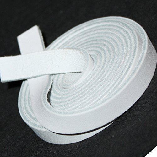 TOFL Leather Strap White 1/2 Inch Wide and 72 Inches (White Leather Strap)