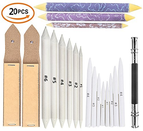 Yoker 17pcs Blending Stumps and Tortillions Set + 2 Pcs Sandpaper Pencil Sharpener + One Pencil Extension Tool Art Blenders Student Sketch Drawing Tools for Student Sketch Drawing