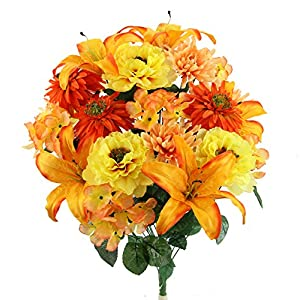 Admired By Nature GPB7357-MANGO MIX Faux Ranunculus Lily Hydrangea Mixed Flower Bush 24