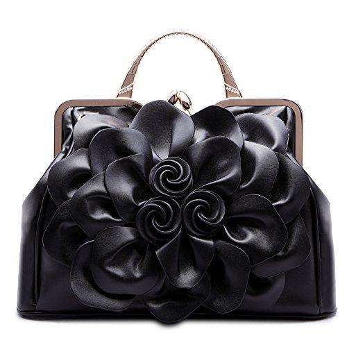 Ruiatoo Women's Handbags 3D Flower Satchel Bags Formal Party Wedding Tote Purses with Detachable Shoulder Strap Black ()