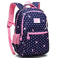 Kid Girl School Backpack Water Resistant Elementary Dot Bookbag with Chest Strap