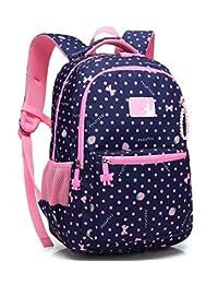 Kids Backpack School Girls Elementary Grade Dot Bookbag with Chest Strap 17 inch(RoyalBlue)
