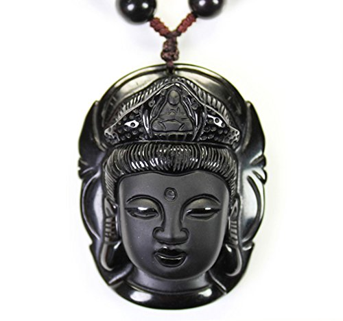 Handmade natural Obsidian Buddha head Goddess of Mercy Pendant necklace