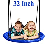 JOYMOR 32 Inch Diameter Round Oxford Detachable Swing with Adjustable Tree Rope,Great for Tree, Swing Set, Backyard, Playground, Playroom(Blue)