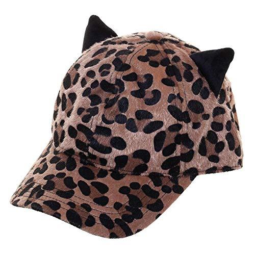 - Velour Leopard Print Adjustable Cap Velcro Back Hat with Cat Ears