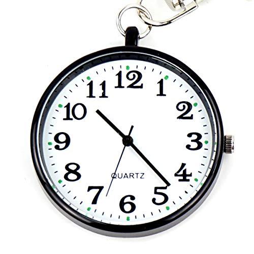 (Men's Silver-Tone Ultra Thin Bold Number Open Face Quartz Pocket Watch Key Buckle)