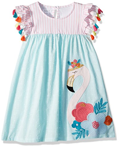 Mud Pie Baby Girls Flamingo Tassel Sleeve Casual Dress, Blue, 3T (Mud Pie Dresses Girls 3t)