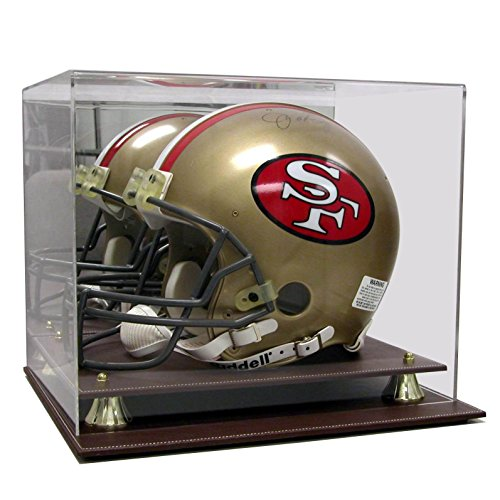 Case Brown Helmet (Exective Acrylic Brown Leather Base Football Helmet Display Case)