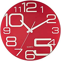 Bernhard Products - Red Glass Wall Clock 12-Inch Silent Non Ticking Quality Quartz Battery Operated Round Unique Modern Design