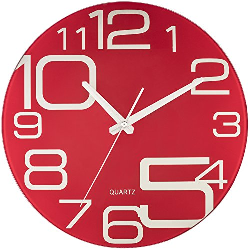 Bernhard Products Red Glass Wall Clock 12-Inch Silent Non Ticking Quality Quartz Battery Operated Round Unique Modern Design (Red Kitchen Clocks Wall)