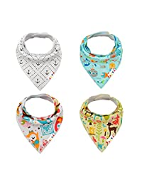 Alva Designed Stylish Baby Bandana Bibs for Boys and Girls 4 Pack of Super Absorbent Baby Gift Sets SH03-CA