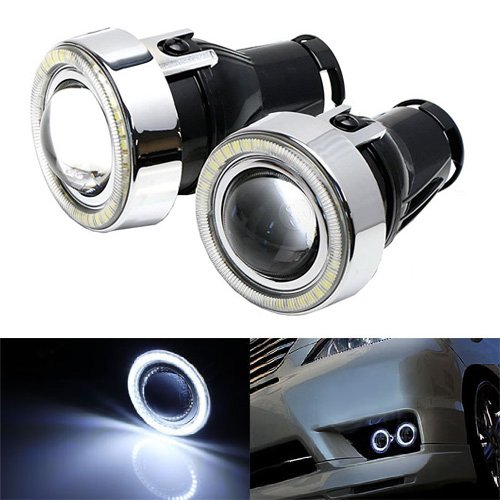 - iJDMTOY 3-Inch Projector Fog Light Lamps w/ 40-SMD Xenon White LED Halo Angel Eyes Rings for Any Car