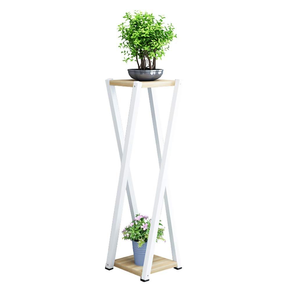 Porta Piante- Cremagliera Smontabile della Pianta di 2 File, Interno Piano Modello in Vaso di Fiori Stand per Office (Bianca) (Dimensioni   High 100cm)