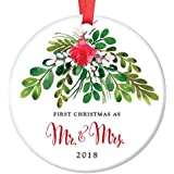 "Mr & Mrs First Christmas 2018 Ornament Newlyweds Pretty Seasonal Ceramic Keepsake Decoration 1st Holiday Married Bride & Groom Gift 3"" Flat Porcelain Collectible w Red Ribbon & Free Gift Box OR00044"