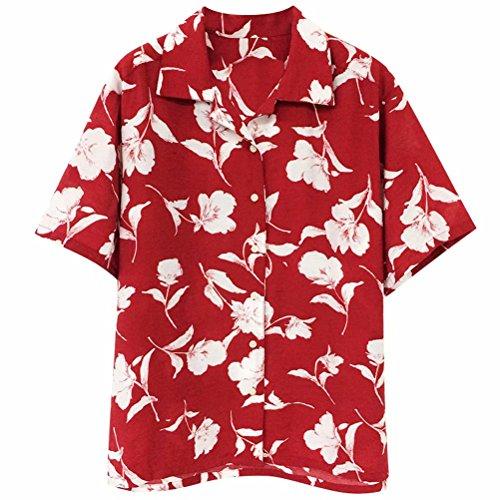 アロハシャツ レディース シャツ ブラウス ワイシャツ プリント ポロシャツ 半袖 夏 花柄 赤い ファッション