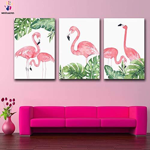KYKDY DIY Färbungen Bilder nach nach nach Zahlen mit Farben Flamingo Bild Zeichnung Malen nach Zahlen gerahmt Home Dekor drei Stücke, 3925,60x75 kein Rahmen B07MYVDJDP | Düsseldorf Eröffnung  b178f4