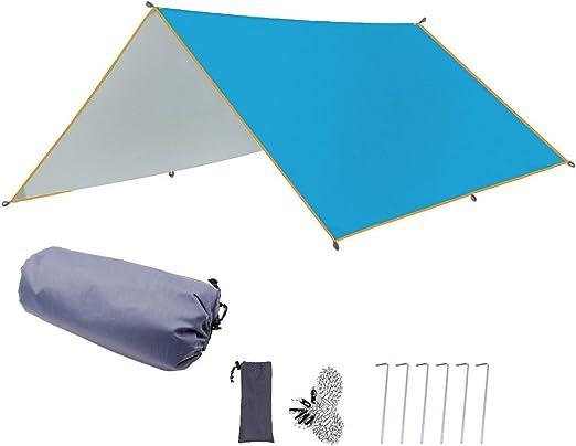 Toldo 3X3m Tienda De Lona Impermeable Cubierta De Toldo De Jardín Ultraligero Sombrilla Camping Al Aire Libre Hamaca Coche Playa Sun Shelterc,Azul: Amazon.es: Hogar