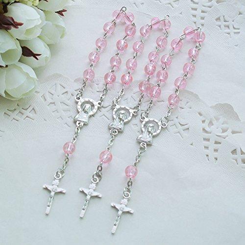 24 Pcs Pink Glass Mini Rosary Favor for Baptism/Christening/First Communion/Quinceanera/Wedding/Recuerdos de Bautizo