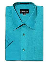 G-Style USA Men's Regular Fit Short Sleeve Solid Color Dress Shirts