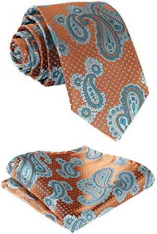 HISDERN Men's Floral Jacquard Woven Tie Necktie Set