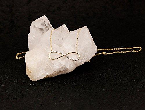 ASS en or jaune 585Pendentif Infini avec Zirconium 27mm avec chaîne
