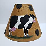 Primitive Country Decor Sunflower Cow Hand Painted Brown Oiled Craft Lamp Shade All Sizes