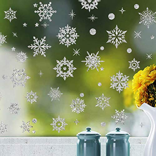 Luxanna White Snowflakes Window Decorations Clings Decal Stickers Winter Wonderland Electrostatic Removable for Christmas Frozen Theme Party New Year Supplies Gold and Silver