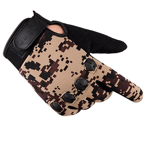 Men's Gloves Driving Winter, Lowprofile Men Fashion Warm Cashmere Male Thermal Camouflage Motorcycle Riding Gloves Hunting (Khaki)