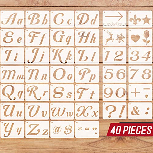40 PCS Letter Stencils for Painting on Wood, Alphabet Stencils Number Stencils for Painting, Drawing, Art and Craft