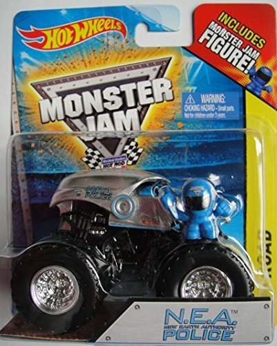 Hot Wheels Monster Jam N.E.A. Police 1:64 Scale Monster Truck with Blue Figure