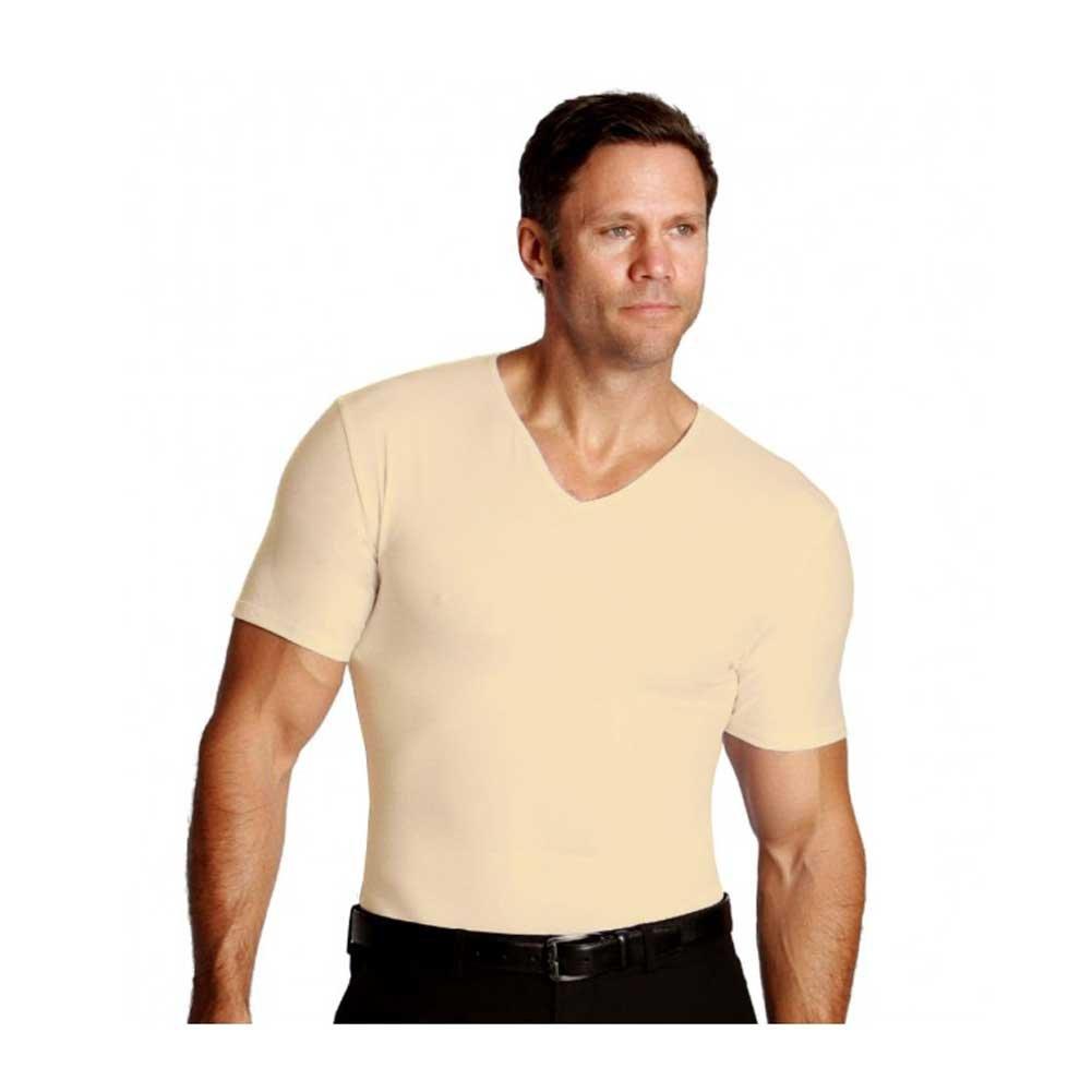 Insta Slim Men's V-Neck Firming Compression Shirt (Nude Medium)
