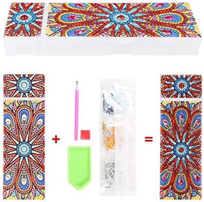 DIY Mandala Special Shaped Diamond Painting 2 Grids Pencil Storage Box w// Tools